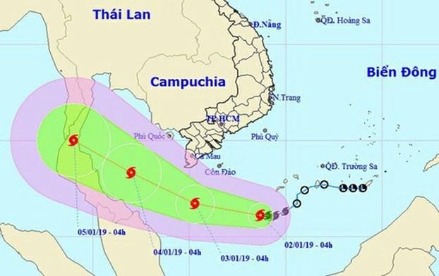 Dự báo hướng đi bão Pabuk.