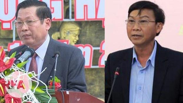 Chủ tịch tỉnh Đắk Nông, ông Nguyễn Bốn (bìa trái) và Phó Chủ tịch tỉnh Đắk Nông, ông Trương Thanh Tùng (bìa phải) bị Thủ tướng kỷ luật.