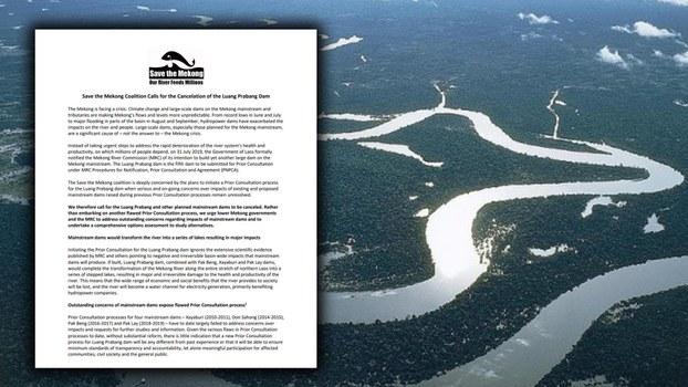 Thông cáo báo chí của Liên minh cứu sông Mekong hôm 8/10/2019 và cảnh dòng sông Mekong nhìn từ trên cao xuống