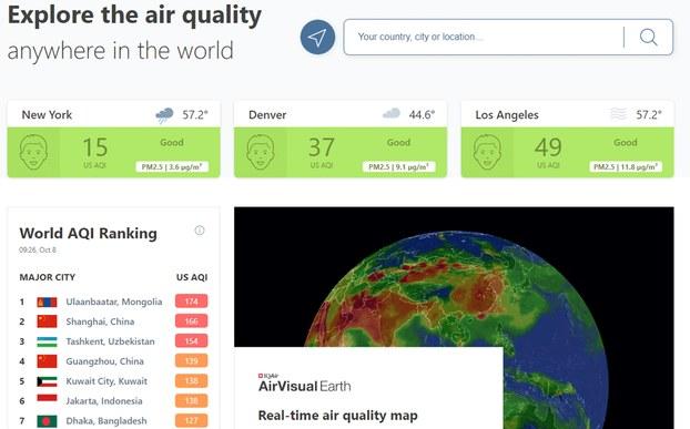 Trang web của Air Visual