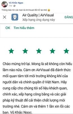 Một trạng thái trên FB của thầy giáo Vũ Khắc Ngọc sau khi AirVisual hoạt động trở lại ở Việt Nam