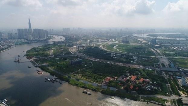Hình chụp từ trên cao khu đô thị Thủ Thiêm