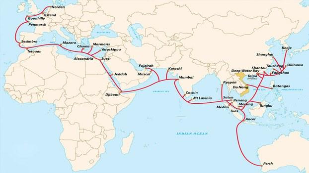 Các tuyến cáp quang biển nối Việt Nam với quốc tế.