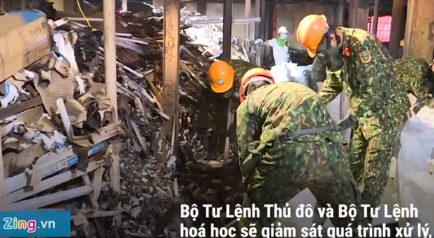 Binh chủng Hóa học, Bộ Quốc Phòng, thu gom được 5 tấn phế thải độc hại tại Nhà máy Rạng Đông trong ngày 13/091/19.