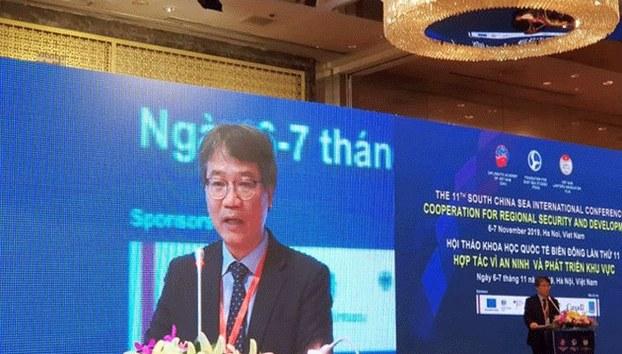 Ông Nguyễn Vũ Tùng - Giám đốc Học viện Ngoại giao phát biểu tại Hội thảo Biển Đông lần thứ 11 ở Hà Nội hôm 6/11/2019