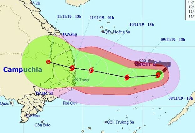 Dự báo vị trí và đường đi của bão số 6 (Nakri)