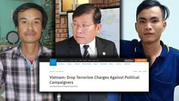 Ba nhà hoạt động chuẩn bị ra tòa: (từ trái sang) ông Nguyễn Văn Viễn, Châu Văn Khảm và Trần Văn Quyền