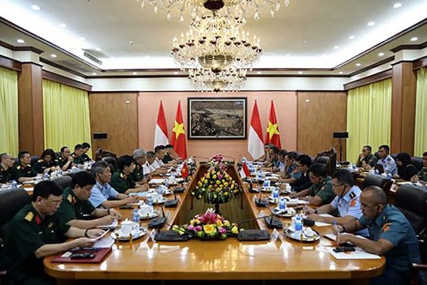 Quang cảnh phiên Đối thoại Chính sách Quốc phòng Việt Nam-Indonesia lần thứ nhất, diễn ra ngày 25/06/19.