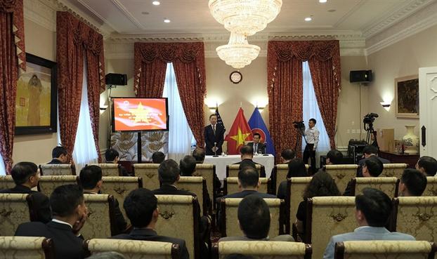 Đại tướng Tô Lâm, Bộ trưởng Bộ Công an thăm Đại sứ quán Việt Nam tại tại Thủ đô Washington D.C vào chiều ngày 22/4.