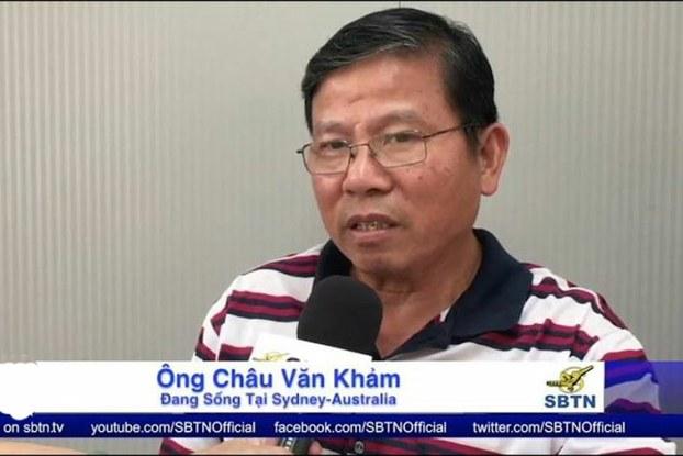 Ảnh chụp màn hình. Ông Châu Văn Khảm trên truyền hình SBTN