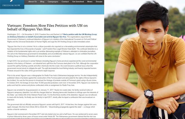 Tổ chức Freedom Now lên tiếng cho  Nguyễn Văn Hóa